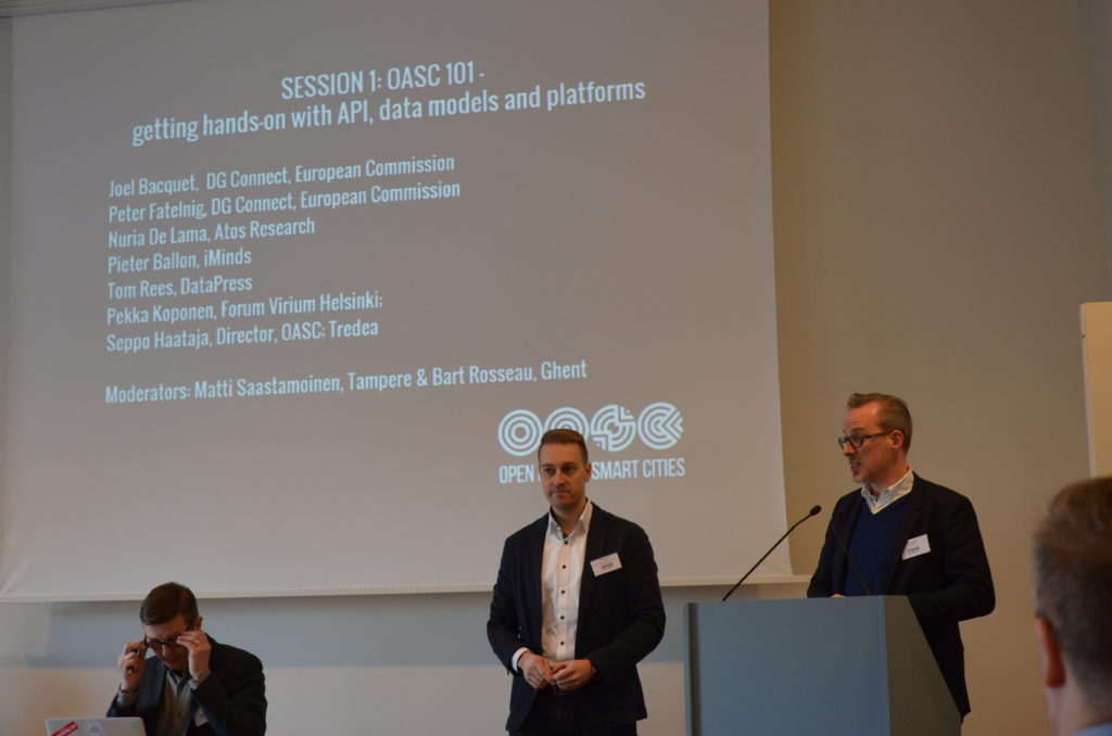 Matti Saastamoinen (Tampere) and Bart Rosseau (Ghent) presenting the speakers of Session 1: OASC 101.